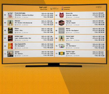cardápio de bebidas na tv